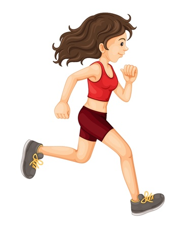 female athletes: training by jogging on white background