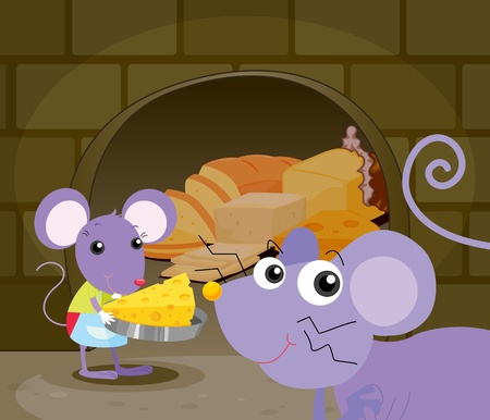Illustration of mice eating food Vector