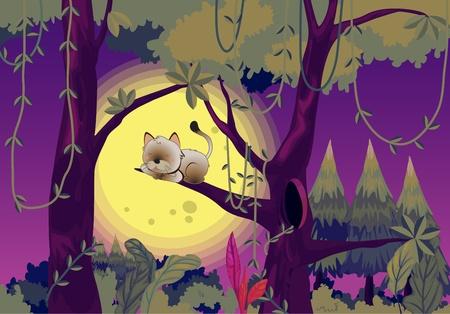 domestic scenes: Cat sleeping in tree illustration
