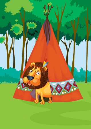 Illustration of lion stalking camping area