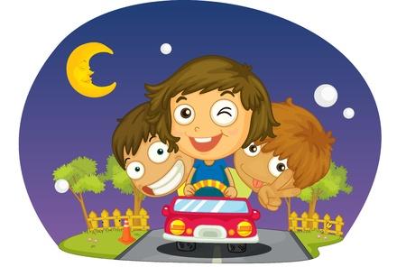 kids driving at night in car Illustration
