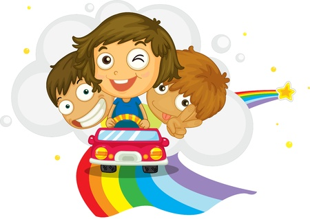 brother and sister cartoon: Kids driving on a rainbow Illustration
