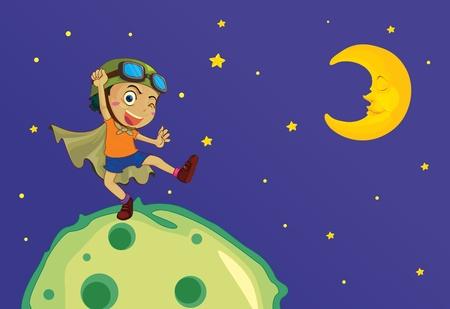 star and crescent: parte superior de la ilustraci�n del mundo Vectores