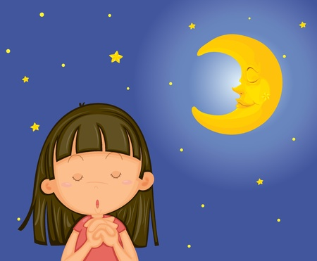 Illustration of girl praying at night