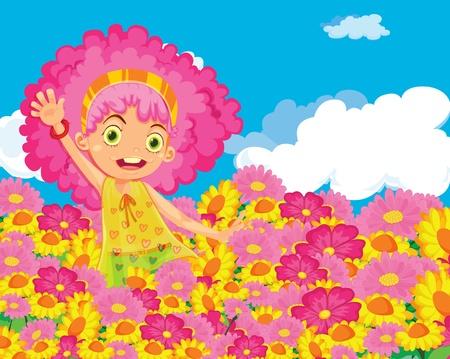 Illustration of girl in colourful garden Vector