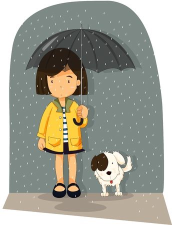 raining: Illustration of girl with her dog