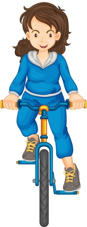Lady riding a bike Vector