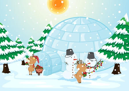 Illustration of a chistmas scene with snowmasen Vector