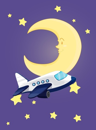 Illustration of plane flying at night Vector
