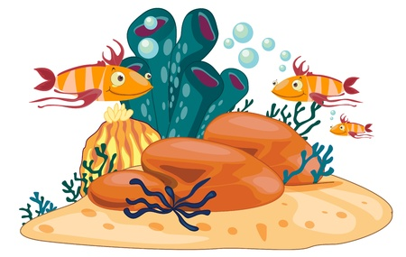 wildllife: coral reef scene illustration