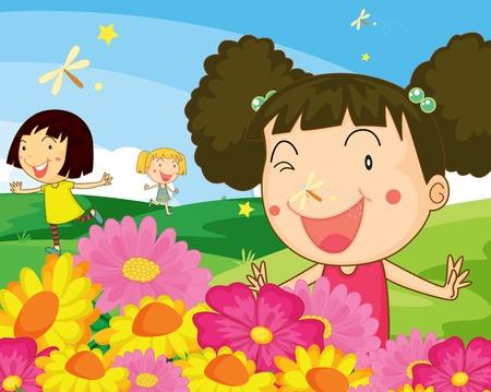 children playing cartoon: Three girls in the garden Illustration
