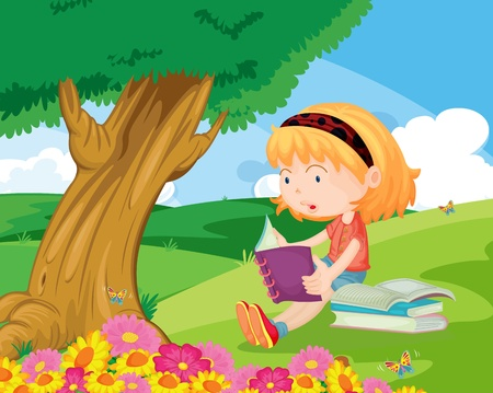 alone person: Young girl sitting and reading in the park Illustration