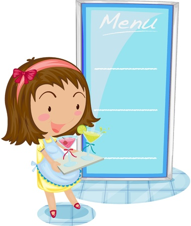 Waitress in front of menu Illustration