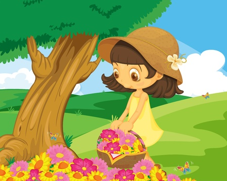 Cute girl picking flowers in the park Vector