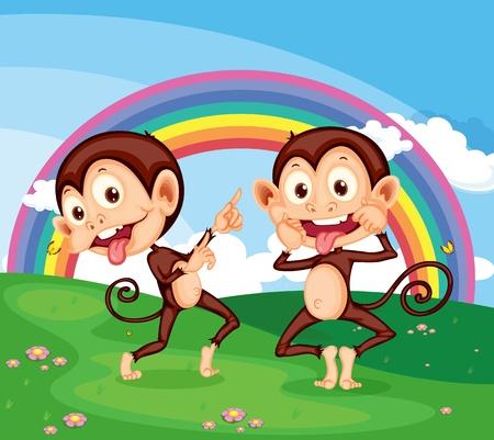 Illustration of 2 cheeky monekys Stock Vector - 13076940
