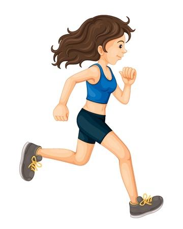 donna che corre: Illustrazione della signora che gestisce su bianco Vettoriali