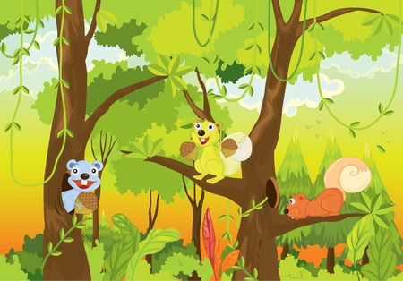 squirrels in the jungle Vector
