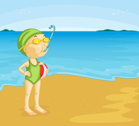 beach ball: Illustration of young girl at the beach