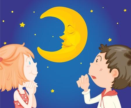 nite: Couple looking at night sky Illustration