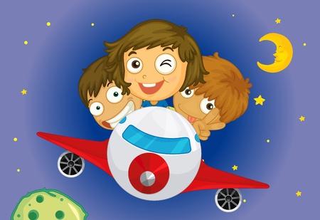 children playing cartoon: kids flying at night