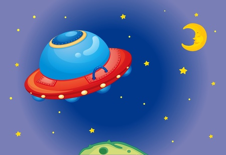 Illustration of alien spaceship Vector