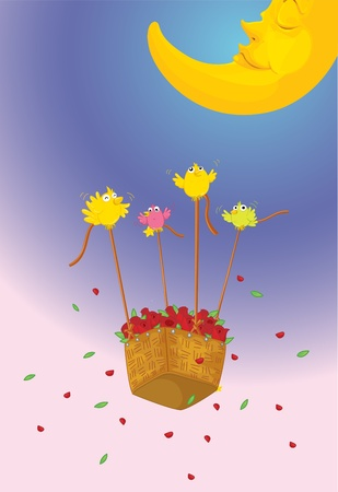 Illustration of birds lifting basket of flowers Vector