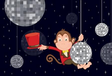 monkey suit: Illustration of disco monkey Illustration