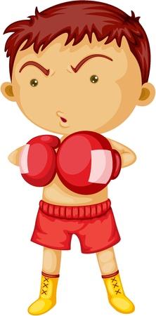 cartoon warrior: Illustrazione di un Boxer su sfondo bianco Vettoriali