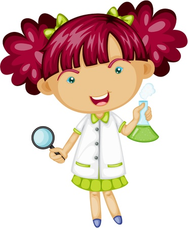 young one: Illustration of A Girl Doing Experiment on white background Illustration