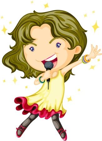 cartoon singing: Illustration of A Singing Girl on white background Illustration