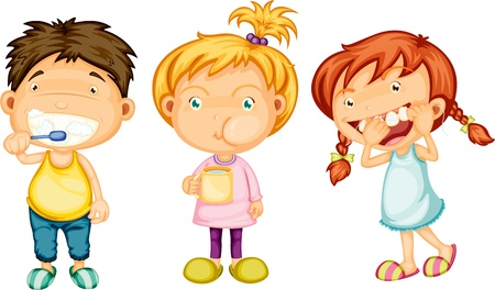 teeth cleaning: Illustration of Boy   Girls on white background