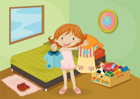 girl bedroom: Illustration of A Girl on colorful background