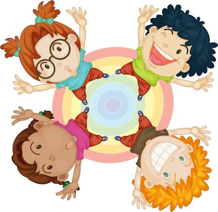 Illustratie van jongens en meisjes op de Circle op een witte achtergrond