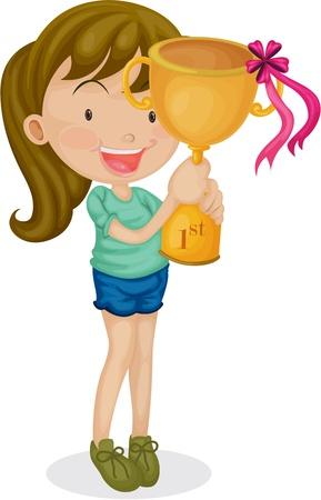 triunfador: Ilustraci�n de una ni�a con un trofeo en el fondo blanco