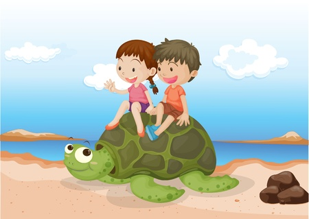 Illustration of Girl and Boy Sitting on Tortoise on colorful background Vector