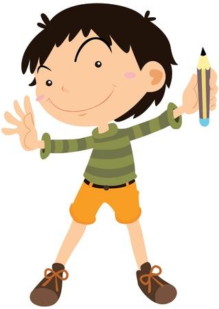 admiring: Illustration of A Boy on white background Illustration
