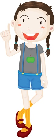 admiring: Illustration of A Girl on white background Illustration