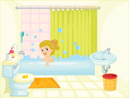 illustration of a girl in bath tub on a white background