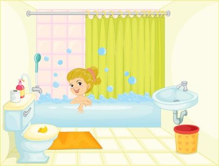 bath tub: illustration of a girl in bath tub on a white background