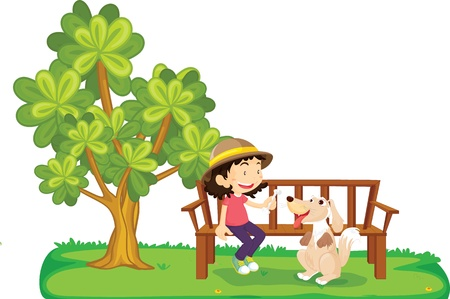 garden bench: illustration of a girl on a white background