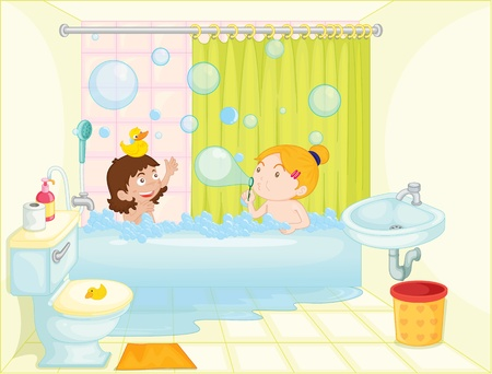bath tub: illustration of a girl in bath tub on a white background