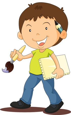 pencil box: illustration of a boy on a white background