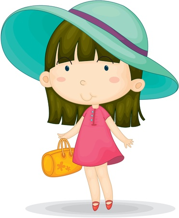 purses: Illustration of a Girl on a white background Stock Photo