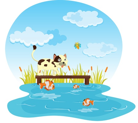 children pond: illustration of a kids sitting on a bench