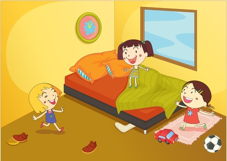 illustration of a kids playing in a room illustration