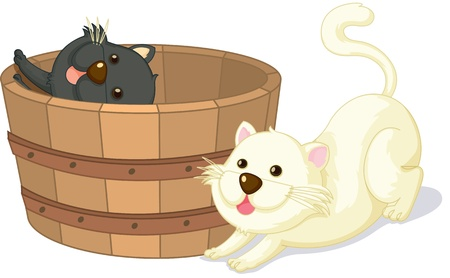 cartoon wood bucket: illustration of cats sitting in a basket Stock Photo
