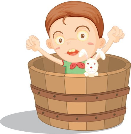 illustration of boy sitting in a basket illustration