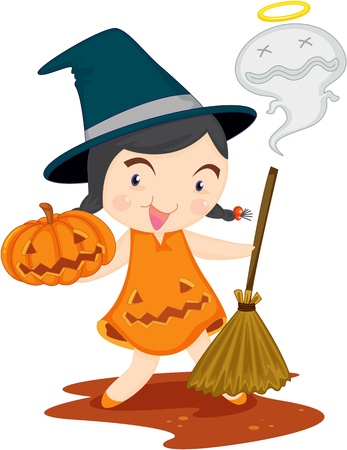 scaring: illustration of witch on white Stock Photo
