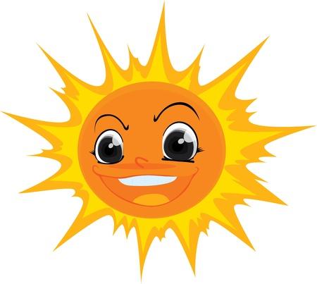 estrella caricatura: Ilustraci�n de un sol sobre un fondo blanco Foto de archivo