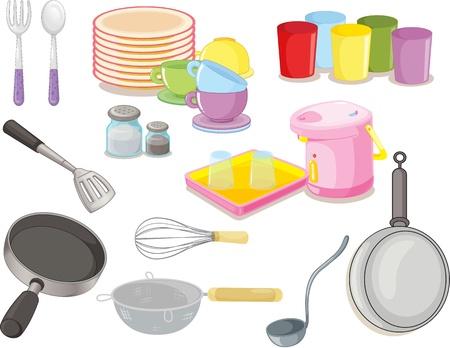 cocina caricatura: ilustraci�n de diversos utensilios sobre un fondo blanco